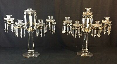 Pair Hawkes Signed Crystal Candelabra Glass & Bronze Art Deco Candle Sticks