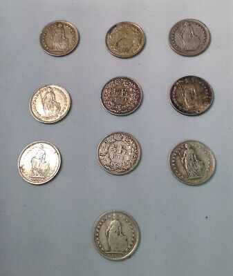 Selection Of 10 X Swiss 1/2 Franc Coins. Various Conditions. .835 Silver