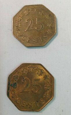 "2 x Maltese 25 Cent Coins. 1975. Condition ""VF"""
