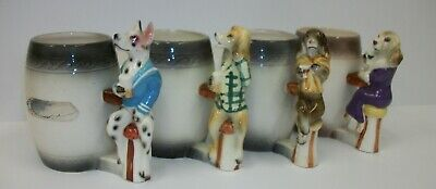 Rare Set Enesco Anthropomorphic Bar Hounds Handled Beer Mug Steins