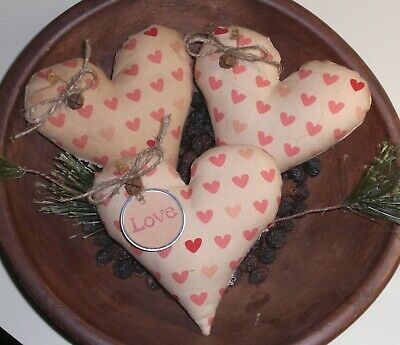 3 Primitive LOVE Pink White Farmhouse Hearts Bowl Fillers Ornies Ornaments