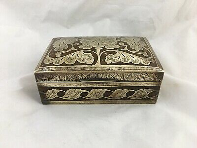 Antique Mamluk style Middle Eastern or Islamic brass and inlay box