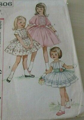 VTG Sewing Pattern SIMPLICITY 3806 1950's B=20 W=19 1/2 GIRLS 1PC DRESS & SASH