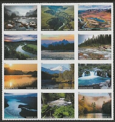 US 5381 Wild and Scenic Rivers forever block set (12 stamps) MNH 2019