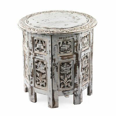 Hand Carved Solid Wood Antique Finished Side Table with Storage 38x38x38 cm