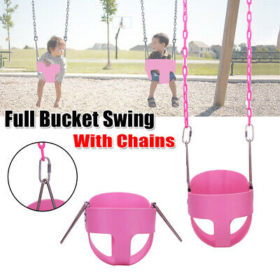 Outdoor Heavy Duty Kid Full Bucket Swing Seat Set For Toddler Baby Safety Chains