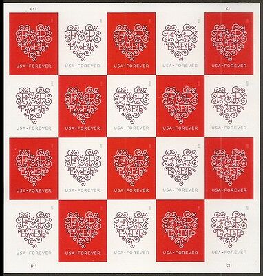 US 4955-4956 4956b Forever Hearts imperf NDC sheet MNH 2015