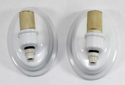 Vintage Pair of Edwin F. Guth Co. Porcelain Enamel Bathroom Wall Light Fixtures