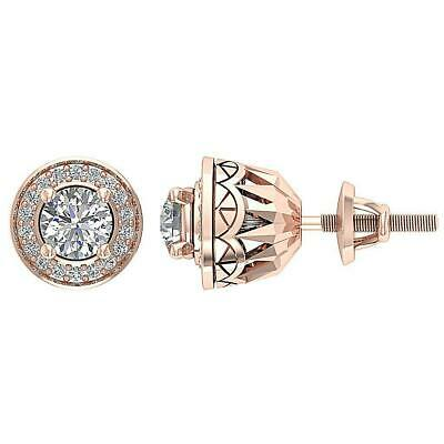 SI1 G 1.20 Ct ound Diamond Halo Solitaire Stud Earrings14K Rose Gold Prong Set