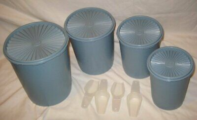 Vintage Tupperware Country Blue Servalier Canister Set & Scoops! Free Shipping!!