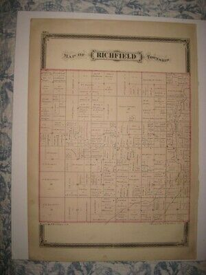 Superb Rare Antique 1875 Richfield Township Henry County Ohio Handcolored Map