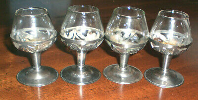 4 Vintage MEXICO STERLING SILVER Overlay Cordials / Mini Brandy Sniffers /TAXCO
