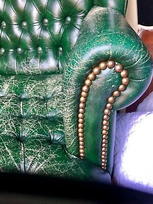 leather Chair Nailheads Wood Frame Classic Vintage Ralph Lauren Inspired