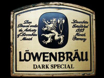 Lb21139 Vintage 1978 ***Lowenbrau Dark Special Beer*** Solid Brass Belt Buckle