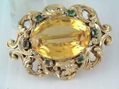 Antique Victorian Solid 18K Gold Emerald & 13.5Ct Faceted Yellow Citrine Pin
