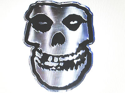"Misfits Skull Logo Black And Silver Colored Metal Sticker 1 3/8"" X 2"" New"