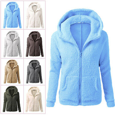 Womens Ladies Fleece Tops Zip Up Jacket Oversized Outdoor Coats Sweatshirt Lot
