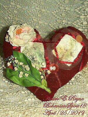 HANDMADE Victorian RED HEART ROSE LILY OF THE VALLEY One Of A Kind Pillow