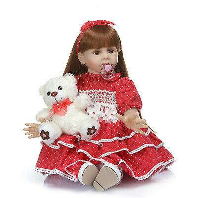 """Toddler Doll 24"""" Alive Real Looking Silicone Baby Reborn Girl Dolls Presents Toy"""