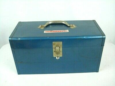 "Vintage Simonsen Industrial Metal Tool Box w/tray 18"" Blue"