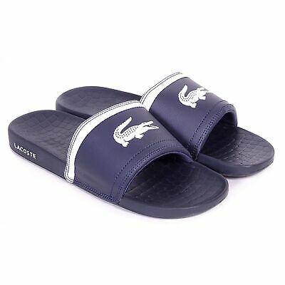 28c835264715 Lacoste Men s Fraisier BRD1 Leather Synthetic Slip On Slide Dark Blue