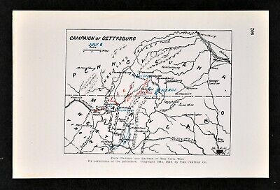 Civil War Map Battle of Gettysburg Campaign July 6 Meade Pursuing Lee to Potomac