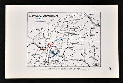 Civil War Map Battle of Gettysburg Campaign July 9 Lee Escaping Across Potomac