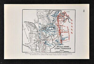 Civil War Map Chattanooga Battles - Lookout Mountain Missionary Ridge Tennessee