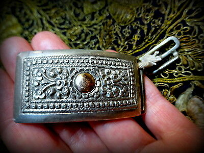 Antique India Burma Silver Repouse Buckle