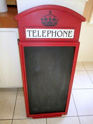 """British Uk London Crown Telephone Booth Large 40"""" Chalk Wall Message Board C@@L"""