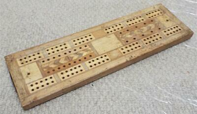 Wooden Cribbage Board Inlaid Antique Vintage (b)