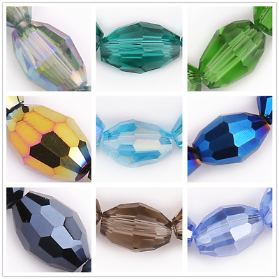 Rugby Oval Crystal Faceted Glass Beads Spacer Jewelry Making Finding 8x6mm