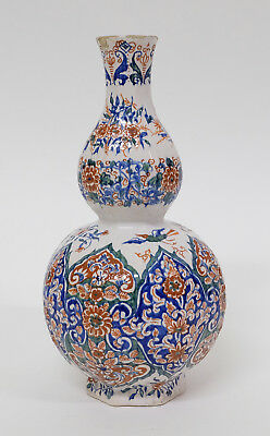 Beautiful Antique Dutch Delft Polychrome Pottery Knob Vase