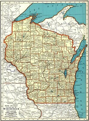 1937 Antique WISCONSIN State Map Vintage Map of Wisconsin Gallery Wall Art #6585