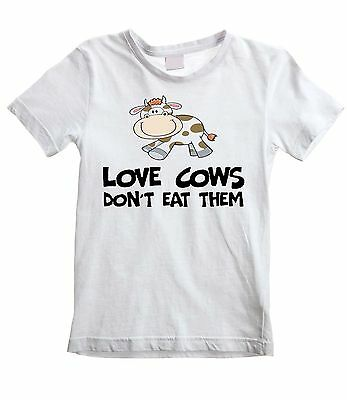LOVE COWS DON'T EAT THEM UNISEX KIDS T-SHIRT - Vegetarian Vegan Veggie Childrens