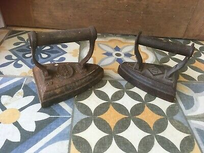 Vintage Antique 2 x Cast Iron Metal Flat Iron Doorstops