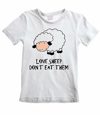 LOVE SHEEP DON'T EAT THEM UNISEX KIDS T-SHIRT  Vegetarian Vegan Veggie Childrens
