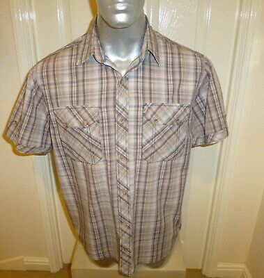 Regatta Short Sleeve Brown Checked Cotton Shirt , Mans Xl