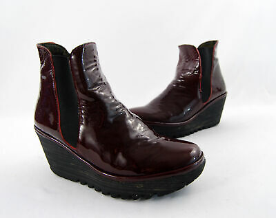 6257b133bdc7e Fly London Burgundy Patent Leather Rubber Platform Wedge Ankle Boot Heel  Shoe 7