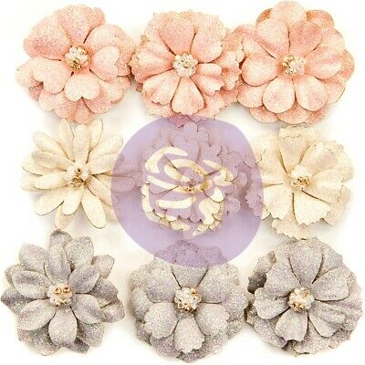 Prima Marketing Spring Farmhouse Paper Flowers 9/pkg-spring Beauties W/glitter