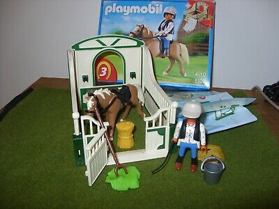 PLAYMOBIL COUNTRY Set 5109 RIDING SCHOOL - Horse with Stable & Rider - COMPLETE