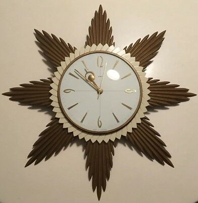 Vintage Retro Mid Century 60s Metamec Sunburst Clock Rare Face + Trim Modernist