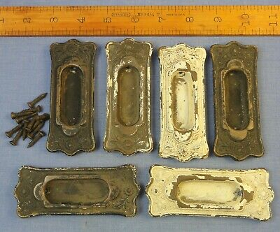 Vtg Lot Of 6 Ornate Recessed Sash Pulls / Window Lifts - Copper Or Brass(?)