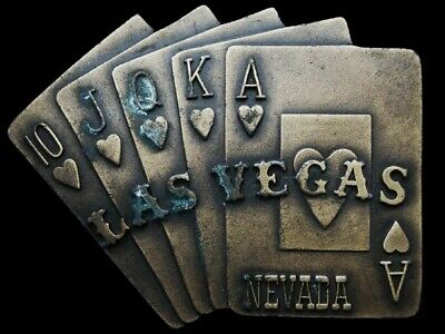 JK25113 VINTAGE 1970s ***LAS VEGAS NEVADA - ROYAL FLUSH*** BELT BUCKLE
