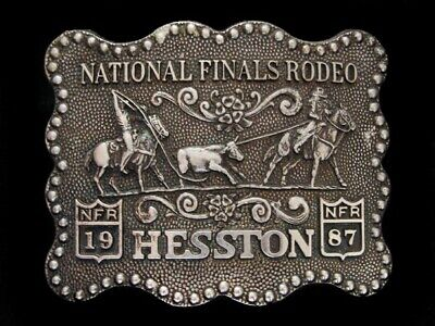 Nf15164 Vintage 1987 **National Finals Rodeo Hesston** Fred Fellows Belt Buckle