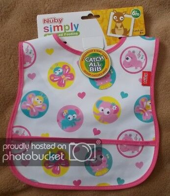 Baby Girl - Nuby - Catch All Bib - Pink Critters / Animals - Waterproof - New