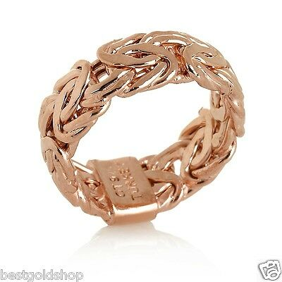 Size 8 Technibond Byzantine Link Band Ring 14K Rose Pink Gold Clad Silver 925