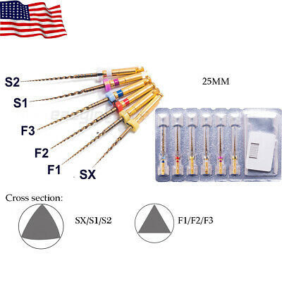 EASYINSMILE 6Pc Endodontic X-Taper Gold NITI Rotary Files 25MM For Dentistry Use