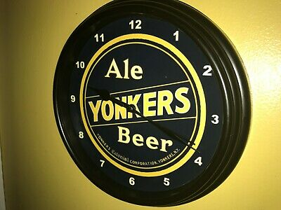 Yonkers Ale New York Beer Bar Man Cave Advertising Black Wall Clock Sign