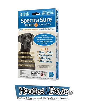 Spectra Sure PLUS Flea Ticks Treatment for Pet Dogs 89-132 lbs 3 Month Supply